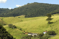 Gröna kullar med lantgårdhuset fotografering för bildbyråer