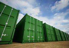 Gröna lastbehållare Arkivfoto