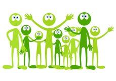 gröna lilla män för tecknad film Royaltyfria Bilder