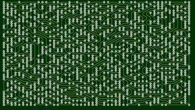 Gröna linjer som dras av ljuspunkter skapar slutligen, en abstrakt bild av ett strömkretsbräde Det kan föreställa elektroniskt arkivfilmer