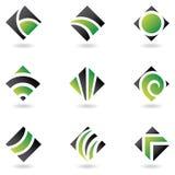 gröna logoer för diamant royaltyfri illustrationer