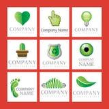 gröna logoer för företag Fotografering för Bildbyråer