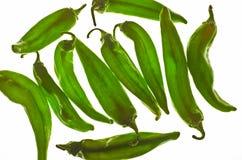 gröna luckapeppar för chili Fotografering för Bildbyråer