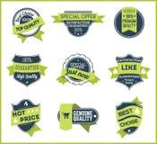 Gröna marknadsföringsetiketter (uppsättningen av 5) Arkivbild