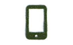 Gröna mobiltelefonseriesymboler ut ur realistiskt gräs Royaltyfria Foton