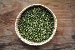 Gröna mung bönor i korg Royaltyfri Bild