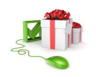 Gröna mus, tickfläck och gåvaaskar. Arkivbild