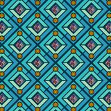 Gröna och blåa diamanter som upprepar modellen med dekorativa cirklar vektor illustrationer