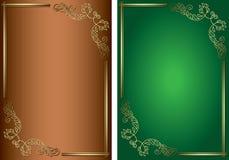 Gröna och bruna bakgrunder med guld- garneringar Fotografering för Bildbyråer