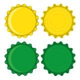 Gröna och gula kapsyler Royaltyfri Bild