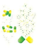 Gröna och gula pills Stock Illustrationer