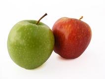 Gröna och röda äpplebilder för kopieringsutrymme för logo och diagram Arkivfoto