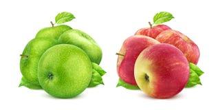 Gröna och röda äpplen som isoleras på vit bakgrund med urklippbanan arkivfoto