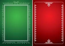 Gröna och röda bakgrunder med vita ramar vektor illustrationer