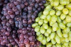 Gröna och röda druvor på en marknad Royaltyfri Bild