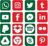 Gröna och röda kulöra sociala massmediasymboler för jul stock illustrationer