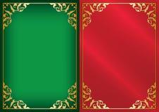 Gröna och röda vektorbakgrunder med guld- dekorativa ramar stock illustrationer