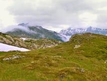 Gröna och snöig ängar av höga alpina berg Arkivbild