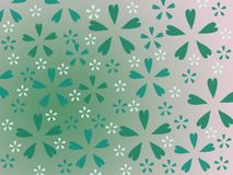 gröna och vita blommor för illustration, på grön bakgrund, blom- tryck royaltyfri bild