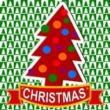 Gröna och vita fyrkanter med julgranar - julkort vektor illustrationer