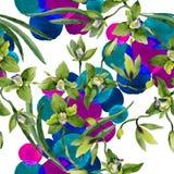 Gröna orkidéblommor för vattenfärg Blom- botanisk blomma Seamless bakgrund mönstrar royaltyfri bild