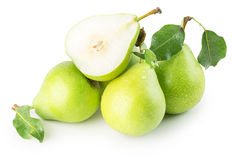 Gröna päron som isoleras på den vita bakgrunden Royaltyfria Foton