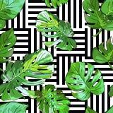 Gröna palmträdsidor på svartvit geometrisk bakgrund Sömlös modell för vektorsommar royaltyfri illustrationer