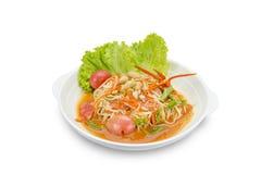 Gröna papayablandningmorötter sallad eller SomTum, kryddig thai mat Royaltyfri Foto