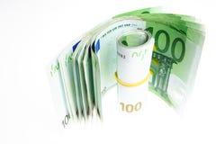 gröna pengar för euro Arkivfoton