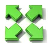 Gröna pilar som 3D utvidgar Top beskådar Royaltyfri Bild