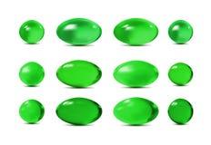 Gröna piller för vektor 3d vektor illustrationer