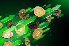 Gröna pilpunkter upp som Bitcoin BTC prislöneförhöjningar Cryptocurrency priser v?xer, det h?ga - risken - h?ga vinstbegreppet fr stock illustrationer