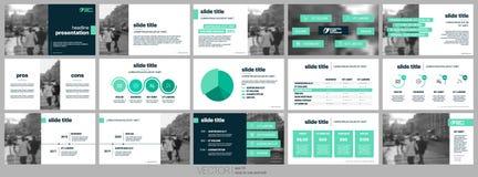 Gröna presentationsmallar Arkivfoton