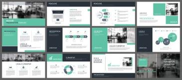 Gröna presentationsmallar och infographicsbeståndsdelbackgroun Royaltyfri Foto