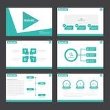 Gröna presentationsmallInfographic beståndsdelar sänker designuppsättningen för marknadsföring för broschyrreklambladbroschyr Arkivbild