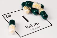 Gröna preventivpillerar med mineral I Iodium på en vit bakgrund med a royaltyfri foto
