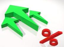 gröna procent för pil till upp Arkivfoto