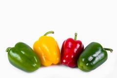 Gröna röda och gula peppar i rad Fotografering för Bildbyråer