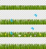 Gröna realistiska gräsgränser ställde in med färgrika blommor och änden royaltyfri illustrationer