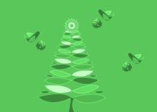 Gröna Retro julgran och prydnadar royaltyfri illustrationer
