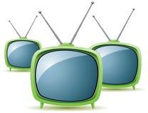 Gröna retro tvsets royaltyfri illustrationer