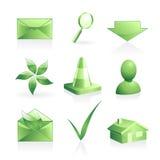 gröna set symboler Royaltyfri Bild
