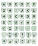 Gröna skrivmaskinstangenter för tappning Arkivbild