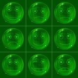 gröna smileys för bubblor Stock Illustrationer