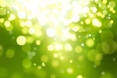 Gröna suddiga bokehbakgrunds-, vit- och gulingcirklar, glitte Arkivfoto