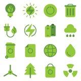 gröna symboler för energi Arkivbild