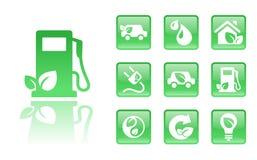 gröna symboler för gas Arkivfoto
