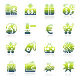 Gröna symboler för kommers Royaltyfria Bilder