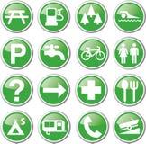Gröna symboler för rekreation Arkivfoto