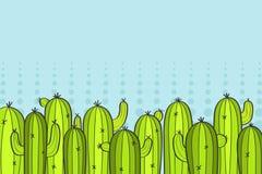Gröna tecknad filmkakturs Bakgrund illustration stock illustrationer